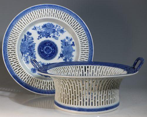 A Fine Blue Fitzhugh Pattern Chestnut Basket and Stand C1800