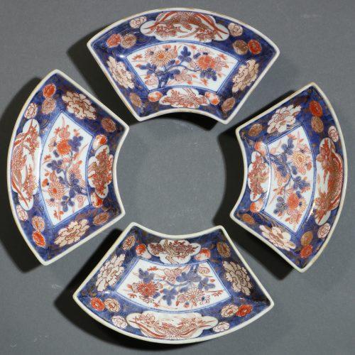 A Set of Four Japanese Fan Shape Dishes Imari E18thC