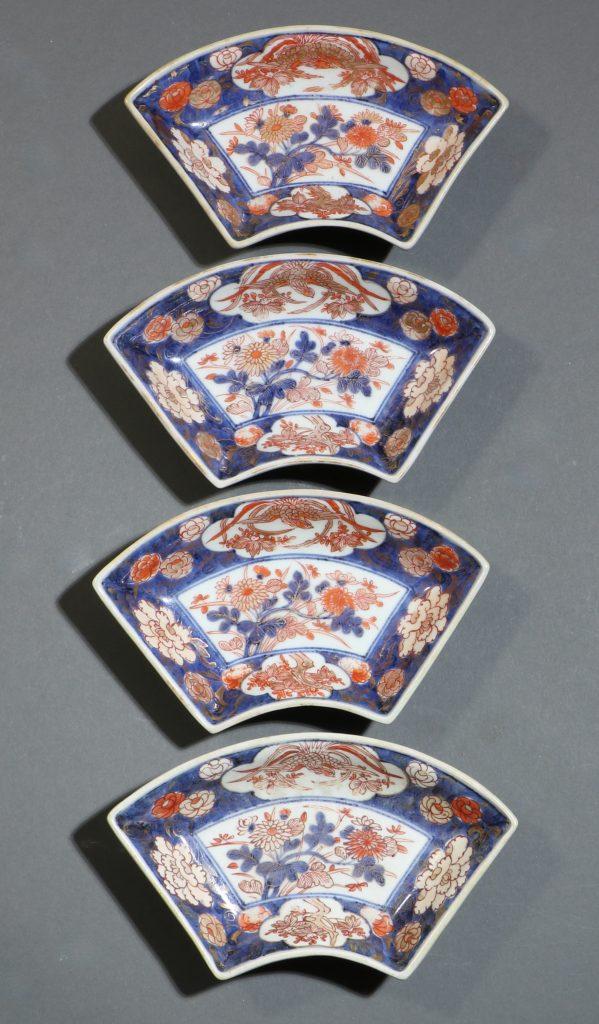 A Set of Four Japanese Fan Shape Dishes Imari E18thC 1