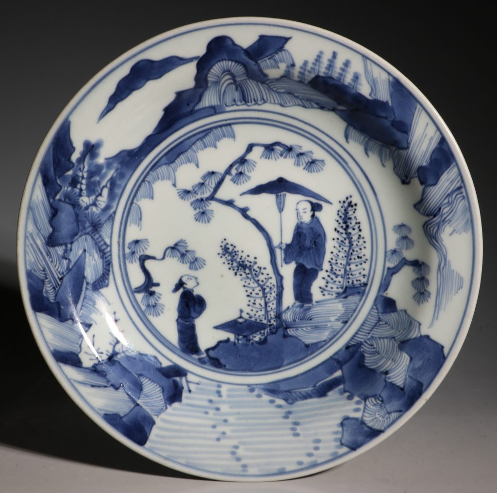 A Japanese Blue and White Dish Arita L17thC