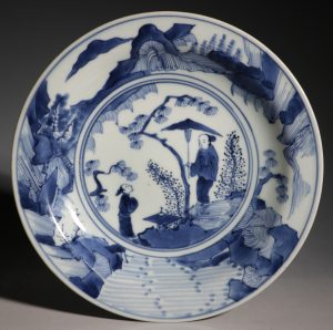 A Japanese Blue and White Dish Arita L17thC