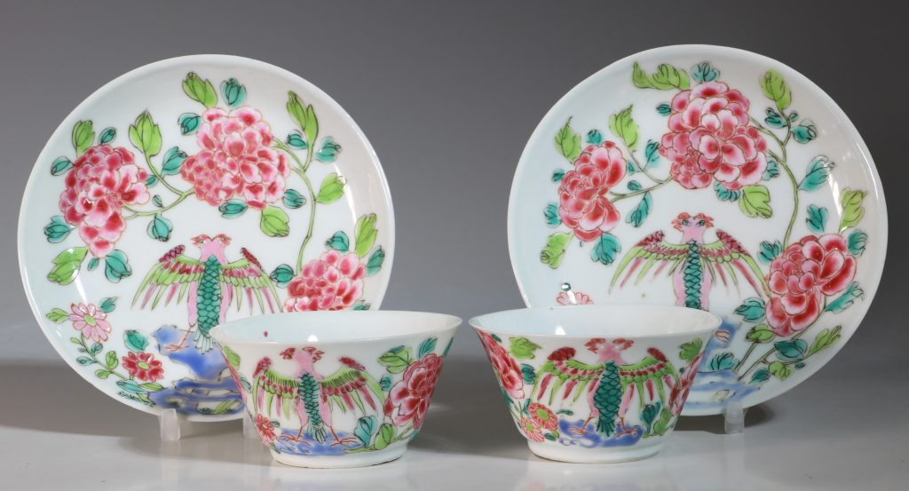 A Rare Pair of Mexican Market Famille Rose Tea Bowls and Saucers Yongzheng C1735 1