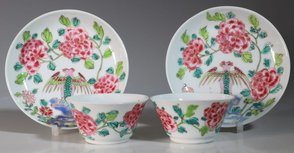 A Rare Pair of Mexican Market Famille Rose Tea Bowls and Saucers Yongzheng C1735 2