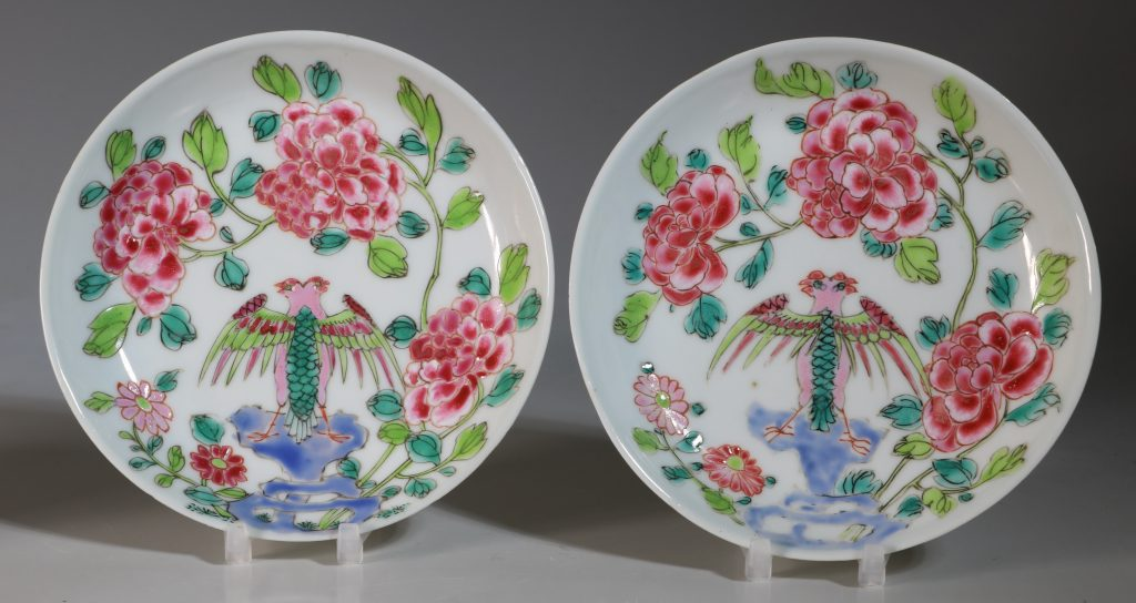 A Rare Pair of Mexican Market Famille Rose Tea Bowls and Saucers Yongzheng C1735 3