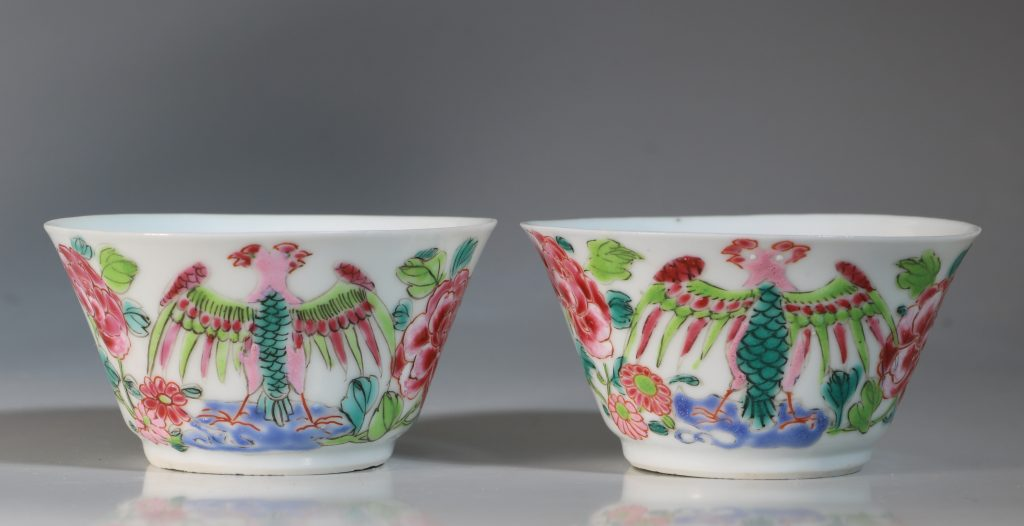 A Rare Pair of Mexican Market Famille Rose Tea Bowls and Saucers Yongzheng C1735 5