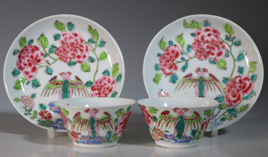 A Rare Pair of Mexican Market Famille Rose Tea Bowls and Saucers Yongzheng C1735