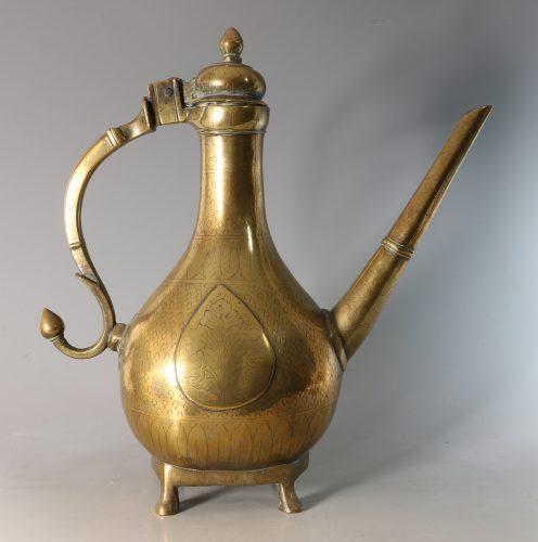 An North Indian Mughal Brass Ewer 18thC