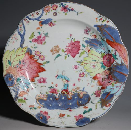 A Rare Famille Rose Tobacco Leaf Plate Qianlong C1770