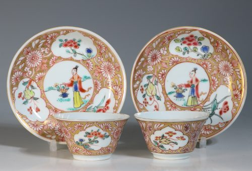 A Pair of Famille Rose Tea Bowls and Saucers Yongzheng