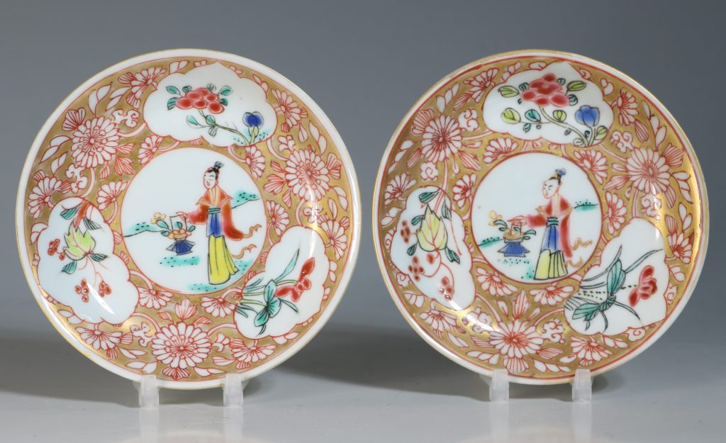 A Pair of Famille Rose Tea Bowls and Saucers Yongzheng 1