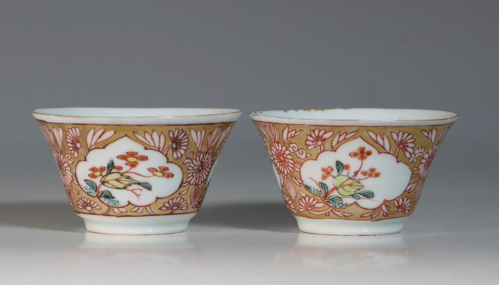 A Pair of Famille Rose Tea Bowls and Saucers Yongzheng 4