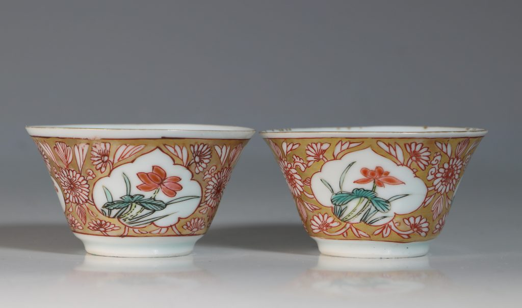 A Pair of Famille Rose Tea Bowls and Saucers Yongzheng 5