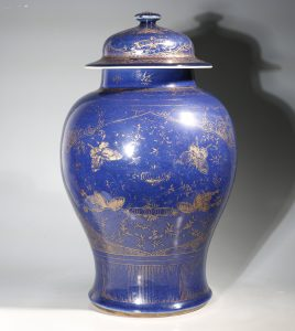 A Gilt Decorated Blue Monochrome Baluster Vase and Cover 18thC