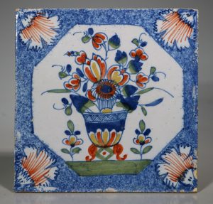 An English Delft Polychrome Flower Vase Tile 1730/50