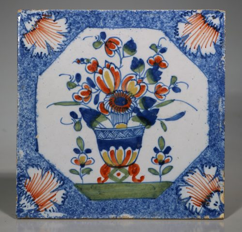 An English Delft Polychrome Flower Vase Tile 1730/50