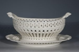 A Creamware Basket and Stand L18thC