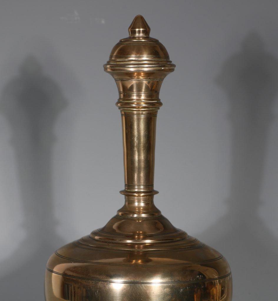 An Mughal Indian Brass Water Flask 'Surai' 19thC 1