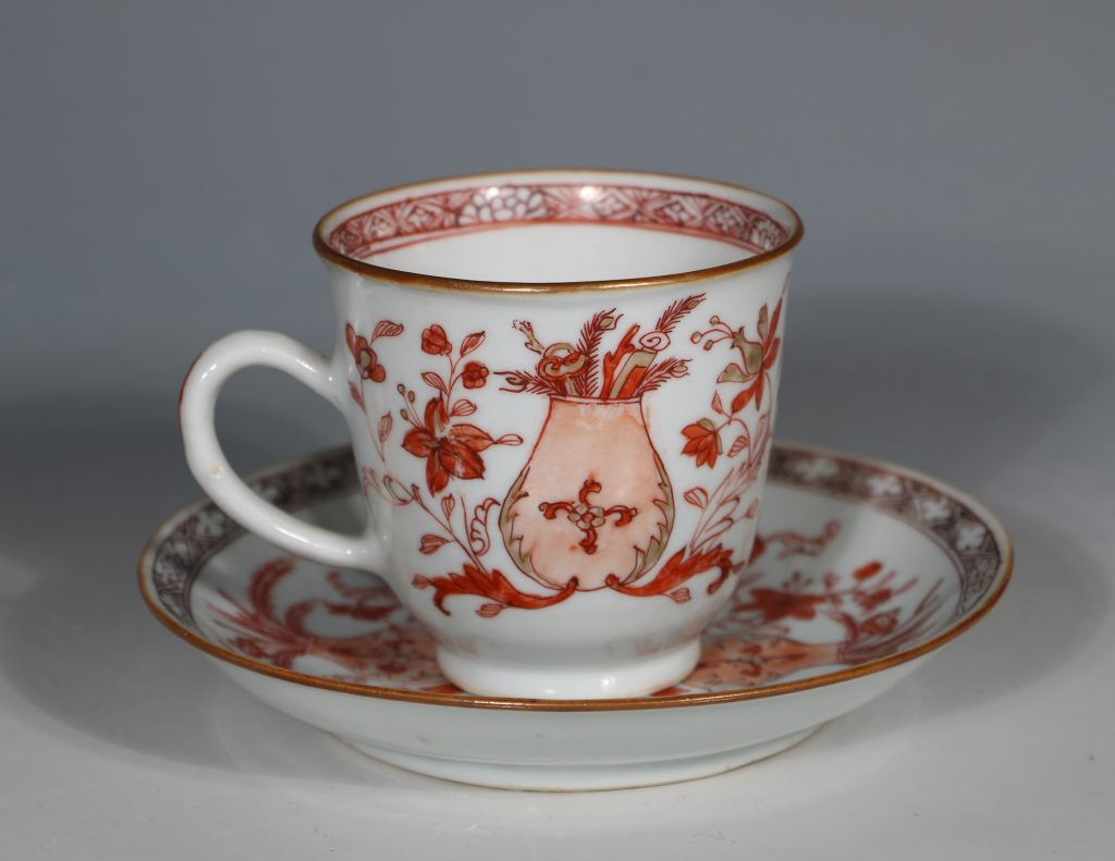 An Iron Red Decorated Coffee Cup and Saucer 18thC 1