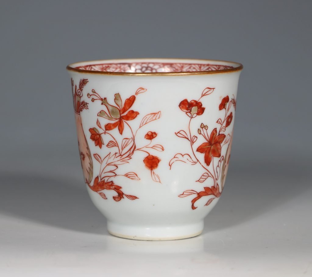 An Iron Red Decorated Coffee Cup and Saucer 18thC 2