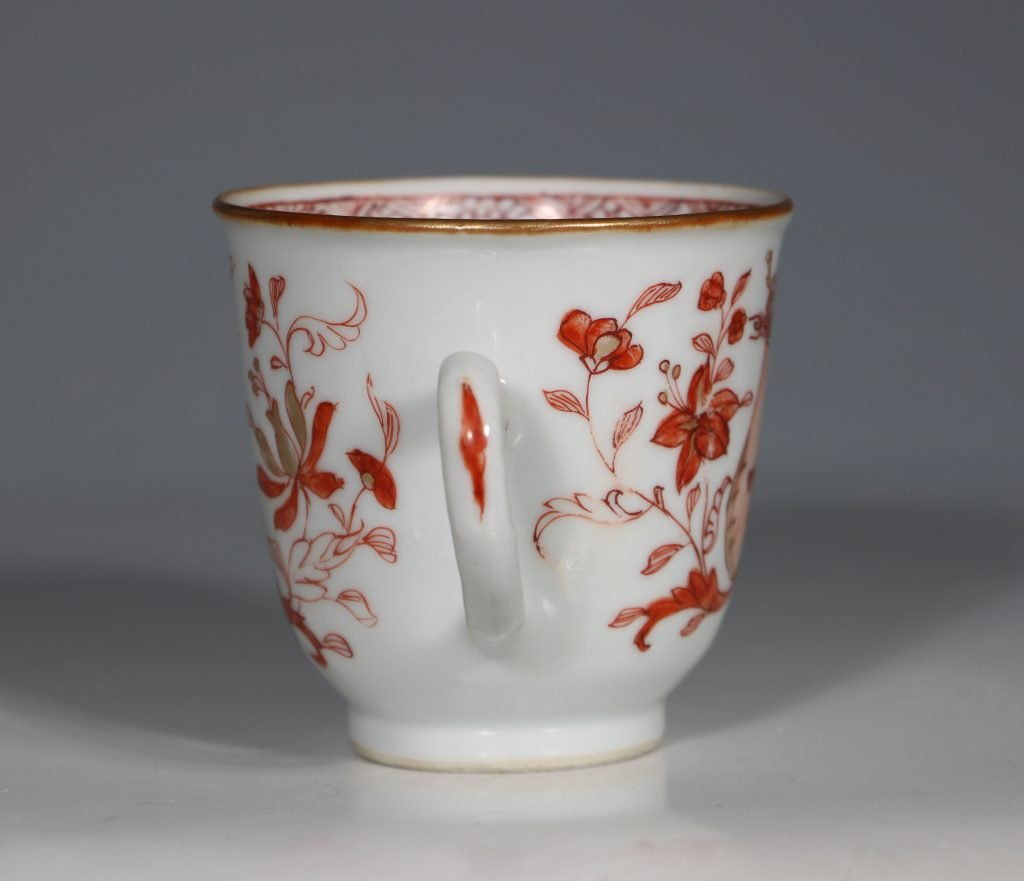 An Iron Red Decorated Coffee Cup and Saucer 18thC 3