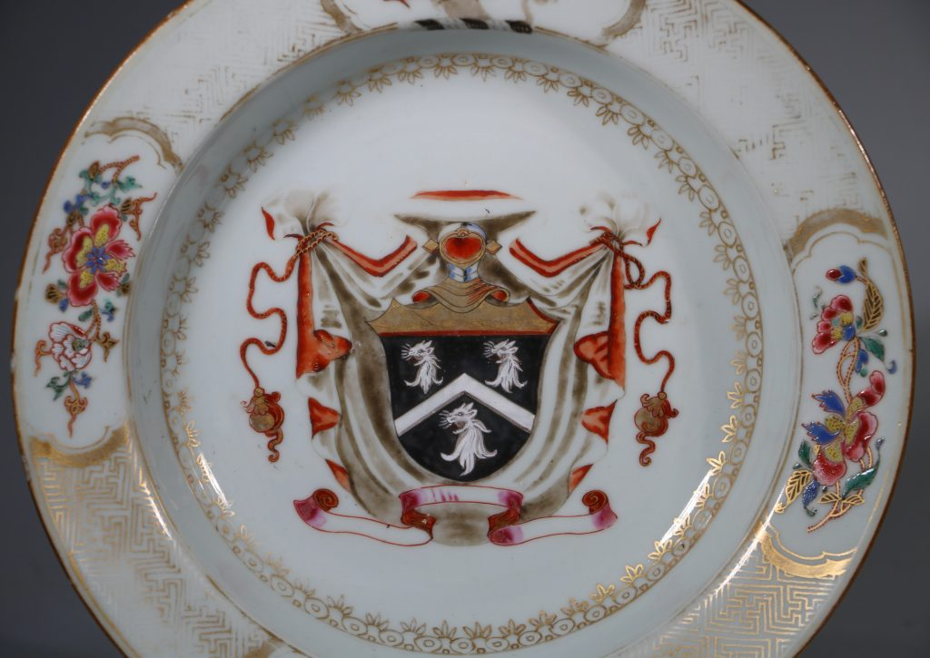 A Famille Rose Armorial Deep Plate C1731 1