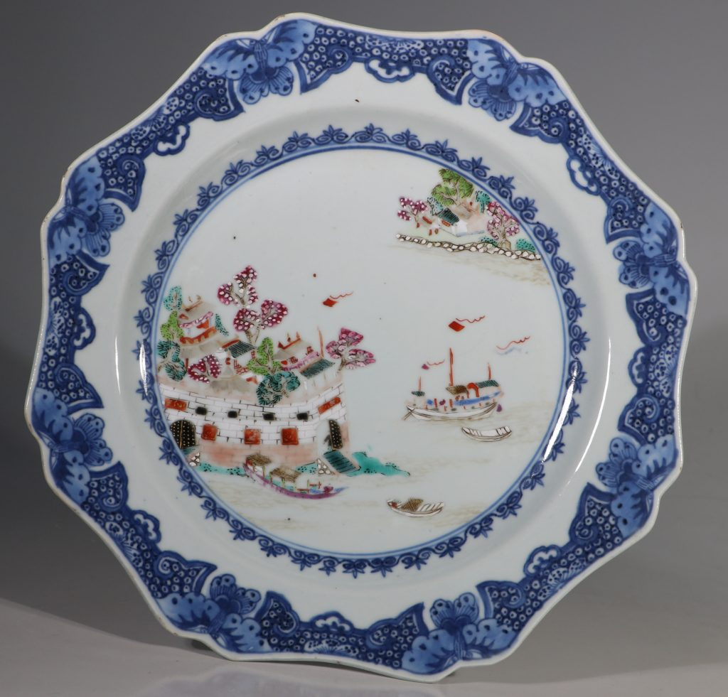A Famille Rose Folly Fort Plate Qianlong C1750/60