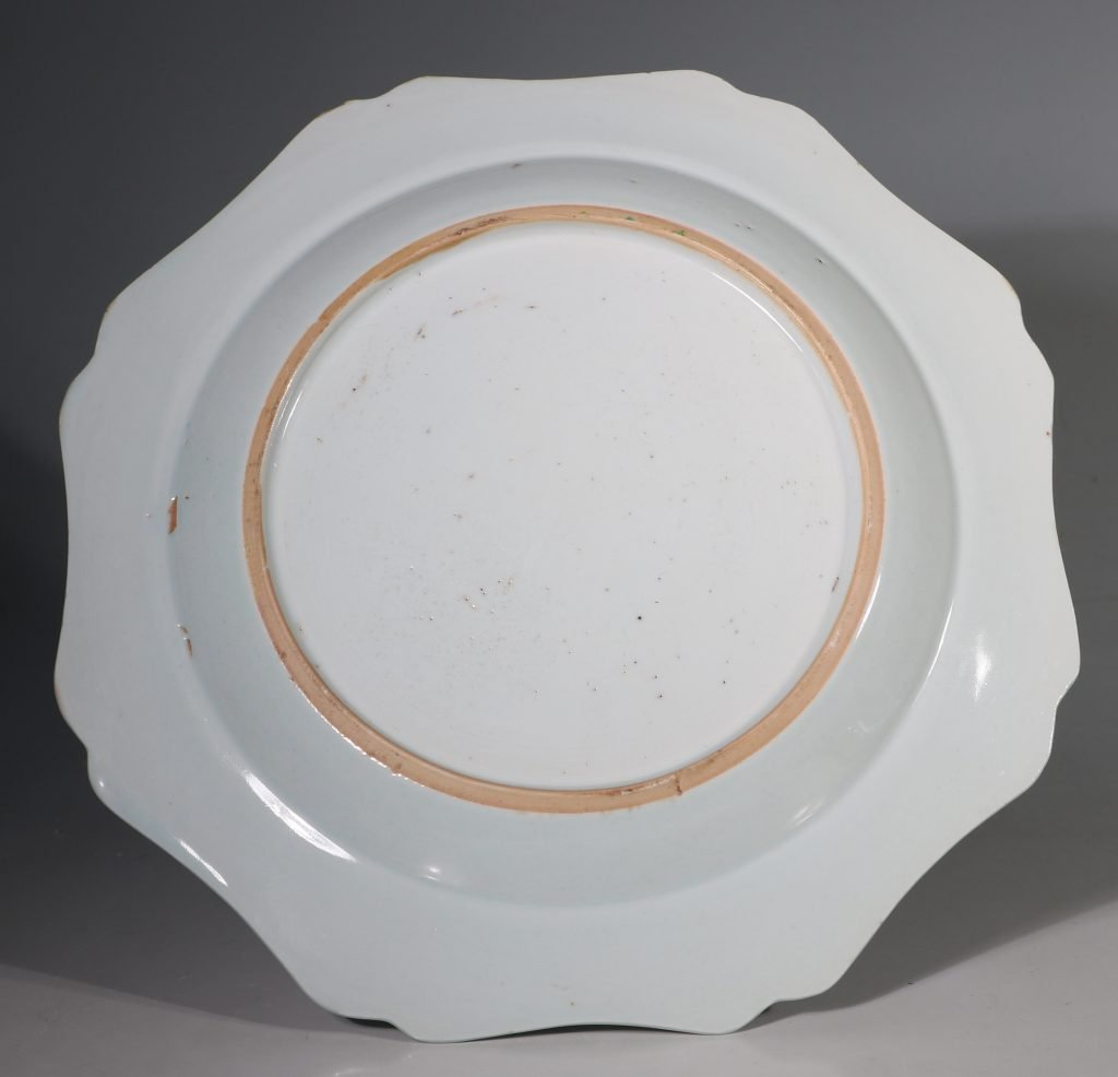 A Famille Rose Folly Fort Plate Qianlong C1750/60 2