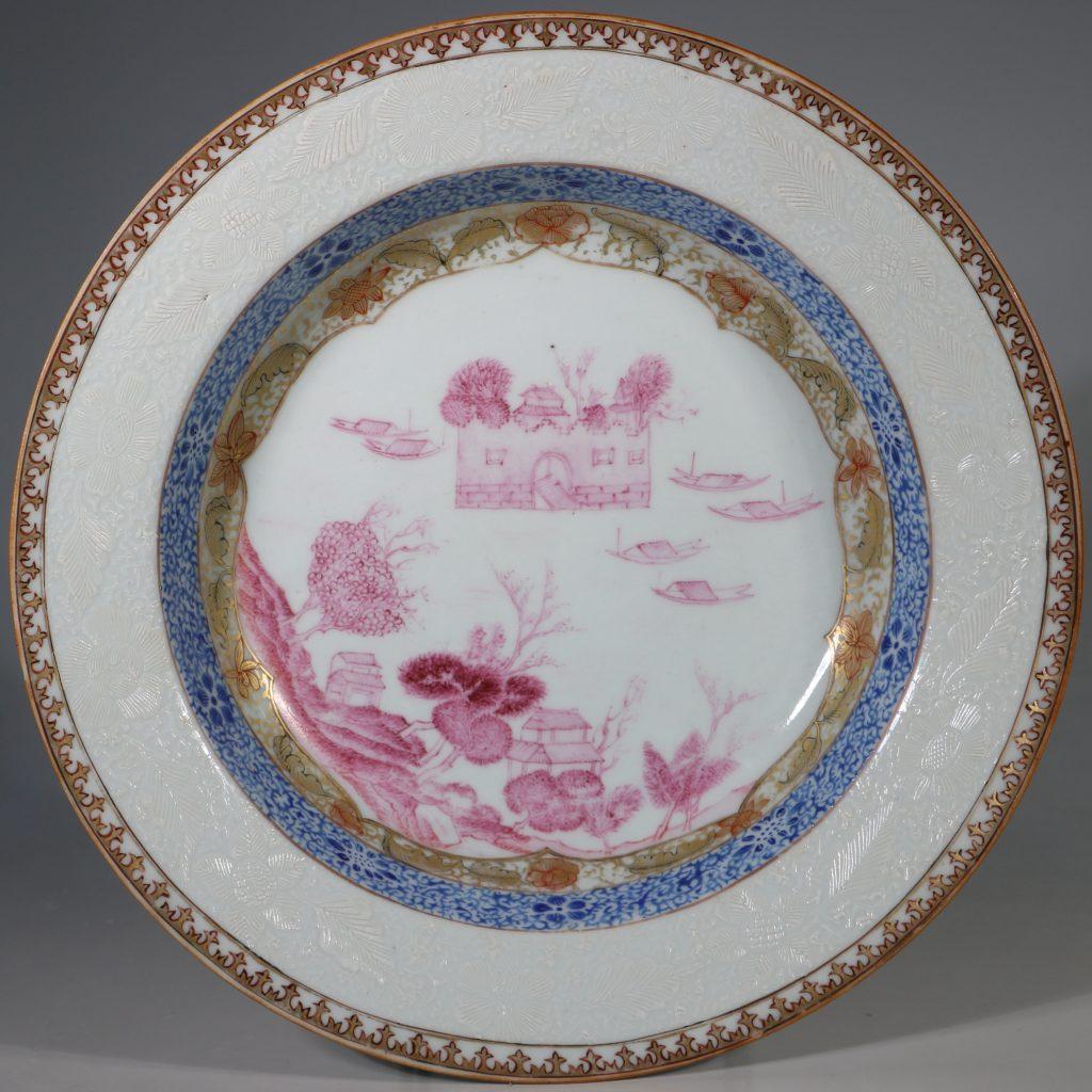 A Rare Folly Fort Deep Plate Qianlong c1735/50 1