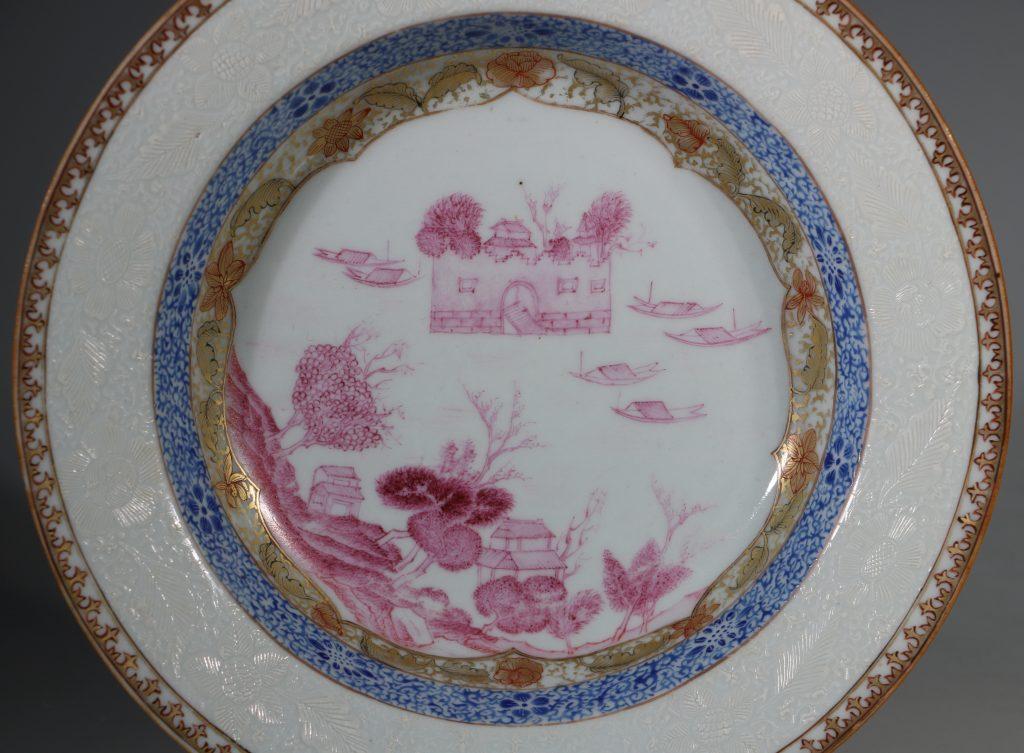 A Rare Folly Fort Deep Plate Qianlong c1735/50 2