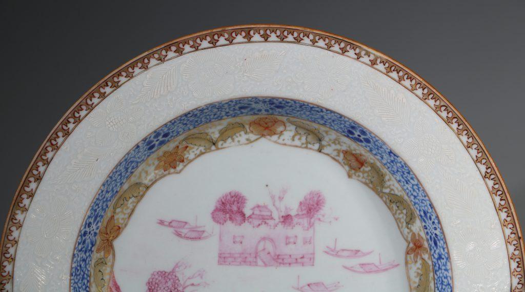 A Rare Folly Fort Deep Plate Qianlong c1735/50 3