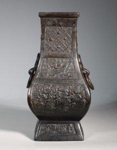 A Bronze Square Section Hu Vase Yuan Ming