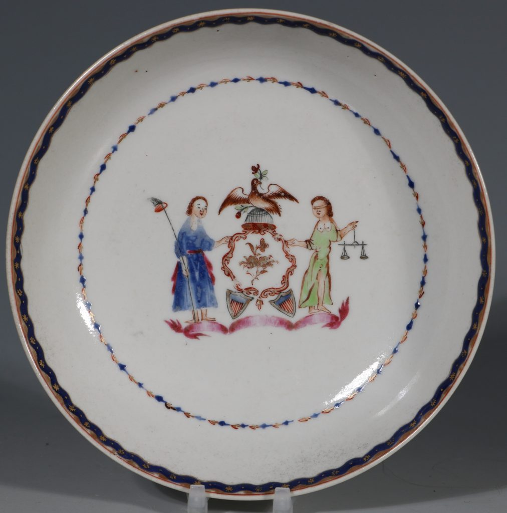 An Export Cup and Saucer with the Arms of the State of New York C1795 1