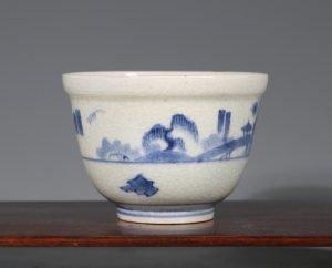 An Arita Blue and White Deep Cup L17thC