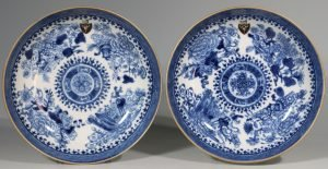 A Pair of Armorial Fitzhugh Pattern Saucer Dishes C1800