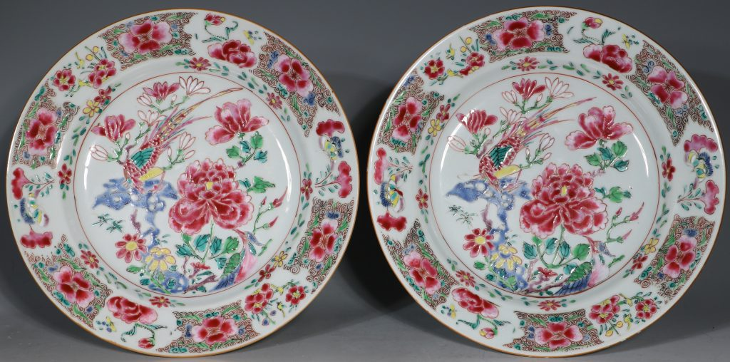 A Pair of Famille Rose Plates C1730-40