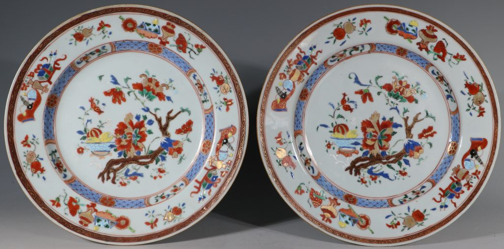 A Pair of Famille Rose Plates C1730/40
