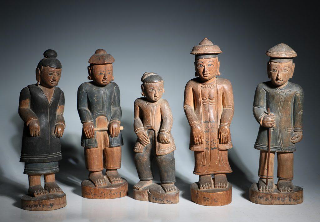A Group of Burmese Wood Figures 19thC
