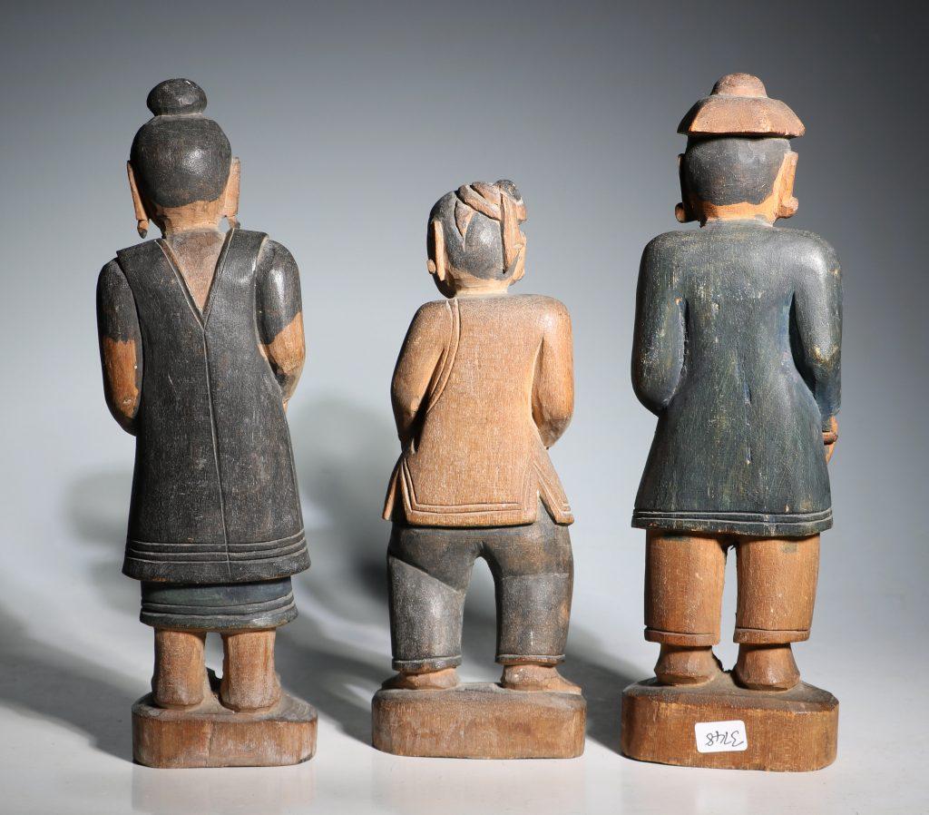 A Group of Burmese Wood Figures 19thC 3