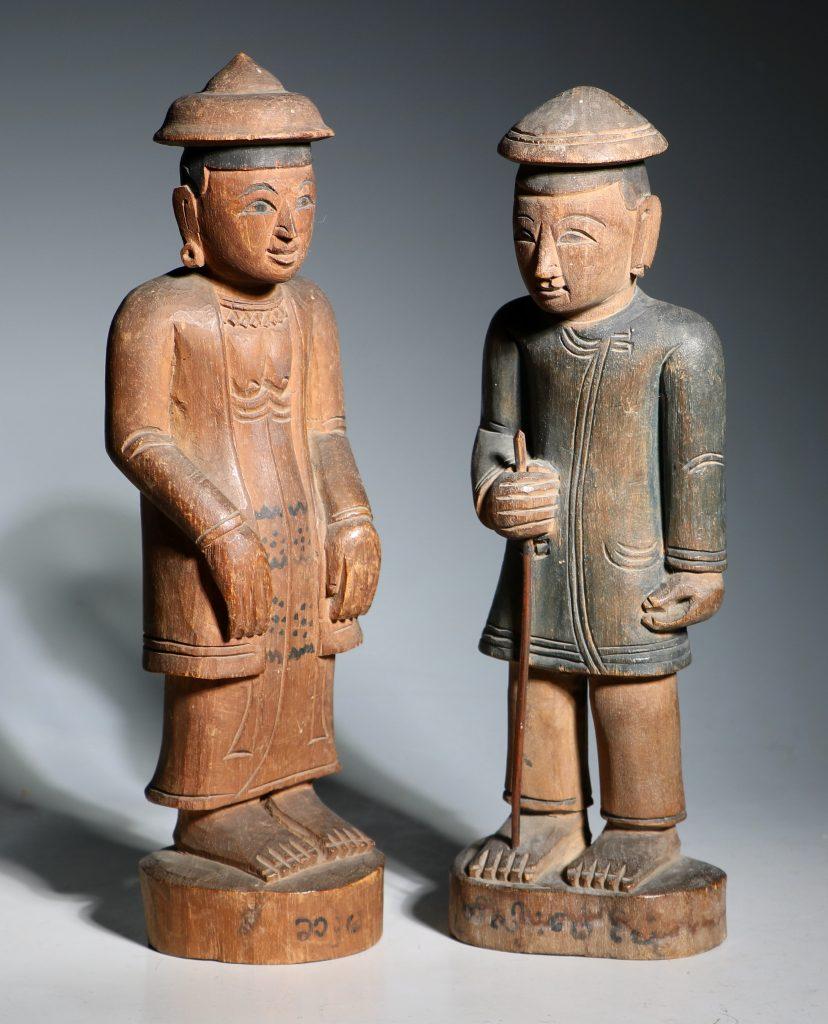 A Group of Burmese Wood Figures 19thC 5