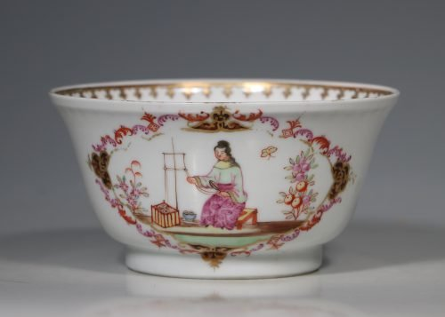 A Famille Rose 'Spinning Maiden' Bowl Qianlong 18thC