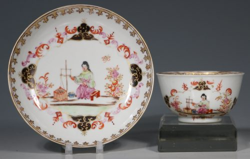 A Meissen Style Famille Rose Tea Bowl and Saucer Qianlong 18thC