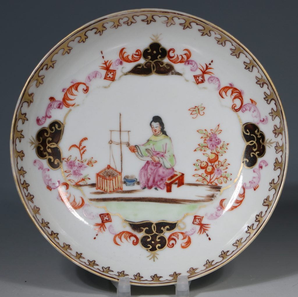 A Meissen Style Famille Rose Tea Bowl and Saucer Qianlong 18thC 2