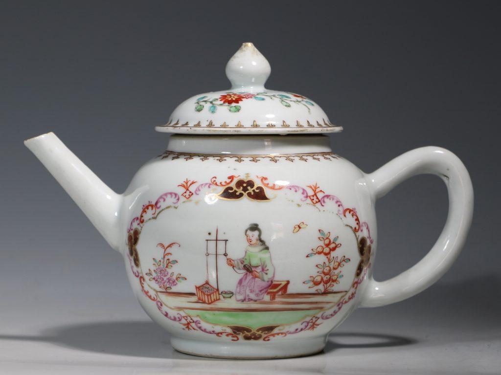 A Meissen Style Famille Rose Teapot Qianlong 18thC
