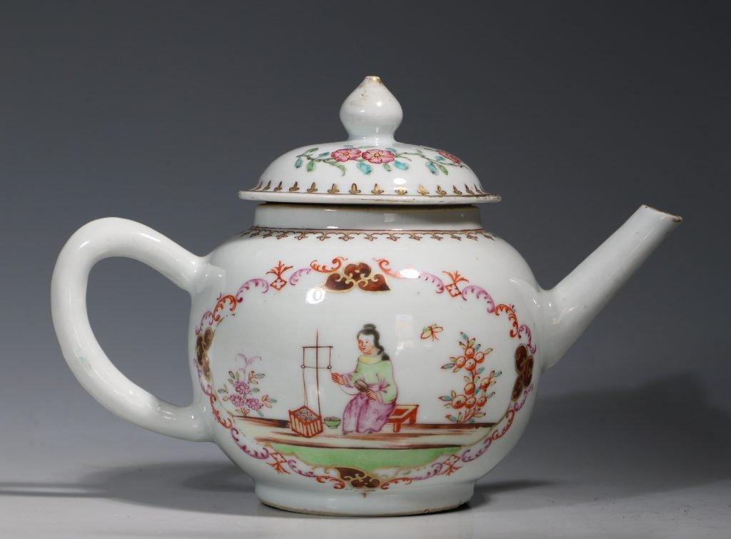 A Meissen Style Famille Rose Teapot Qianlong 18thC 1