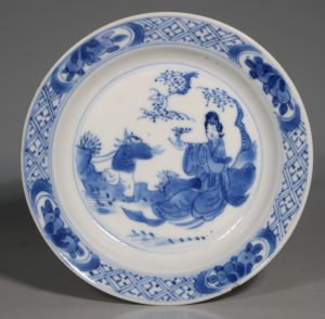 A Small Blue and White Dish Kangxi Mark and Period E18thC