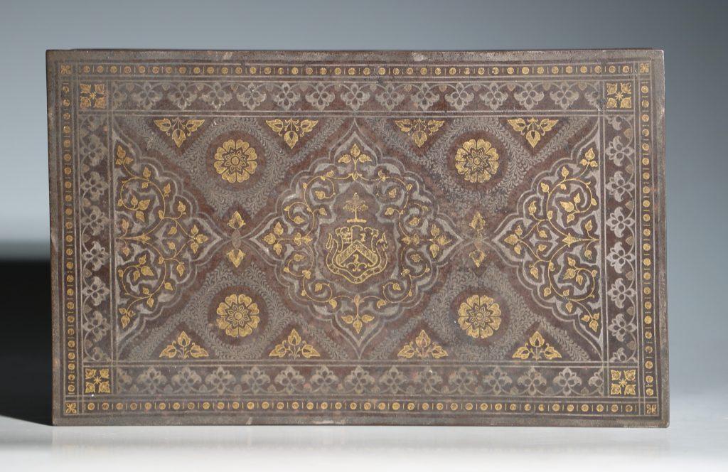 An Anglo Indian Armorial Koftgari Box 19thC