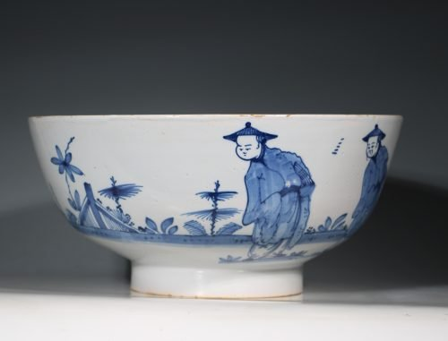 A Fine and Large Blue and White Delft Bowl Liverpool C1740