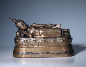 A Thai Figure of the Reclining Buddha 17/18thC