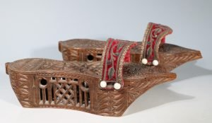 A Pair of Ottoman Carved Wood Sandals 19thC