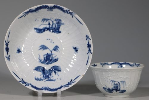 A Worcester Blue and White Teabowl and Saucer C1756